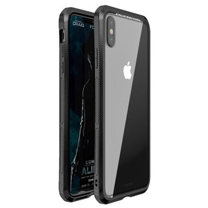 Metal Bumper Case Cover with Tempered Glass Back for iphone X Xr Xs 7 8 Plus Transparent Case Coque Bag
