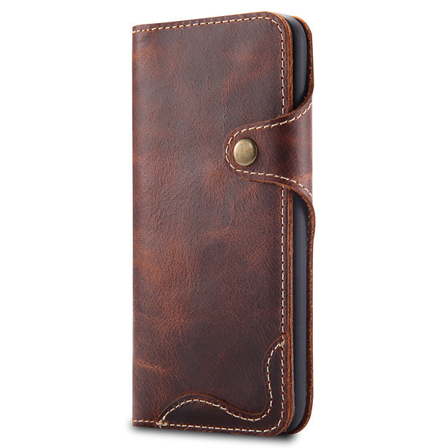For Apple iPhone SE(2020) 11/ 11 Pro/ X XS XR 7 8 6 Genuine Leather Wallet Card Holder Case