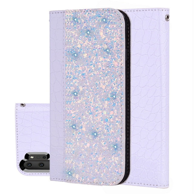 Magnetic Crocodile Skin Glitter Flip Case For Samsung Galaxy S8 S9 S10