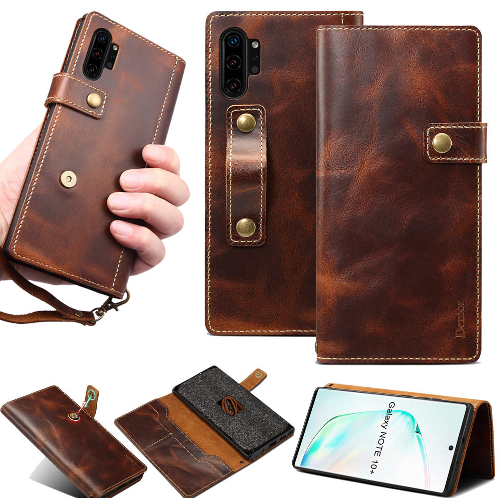 Genuine Leather Flip Wallet For Samsung Note 10 S20  S10 with Finger Strap