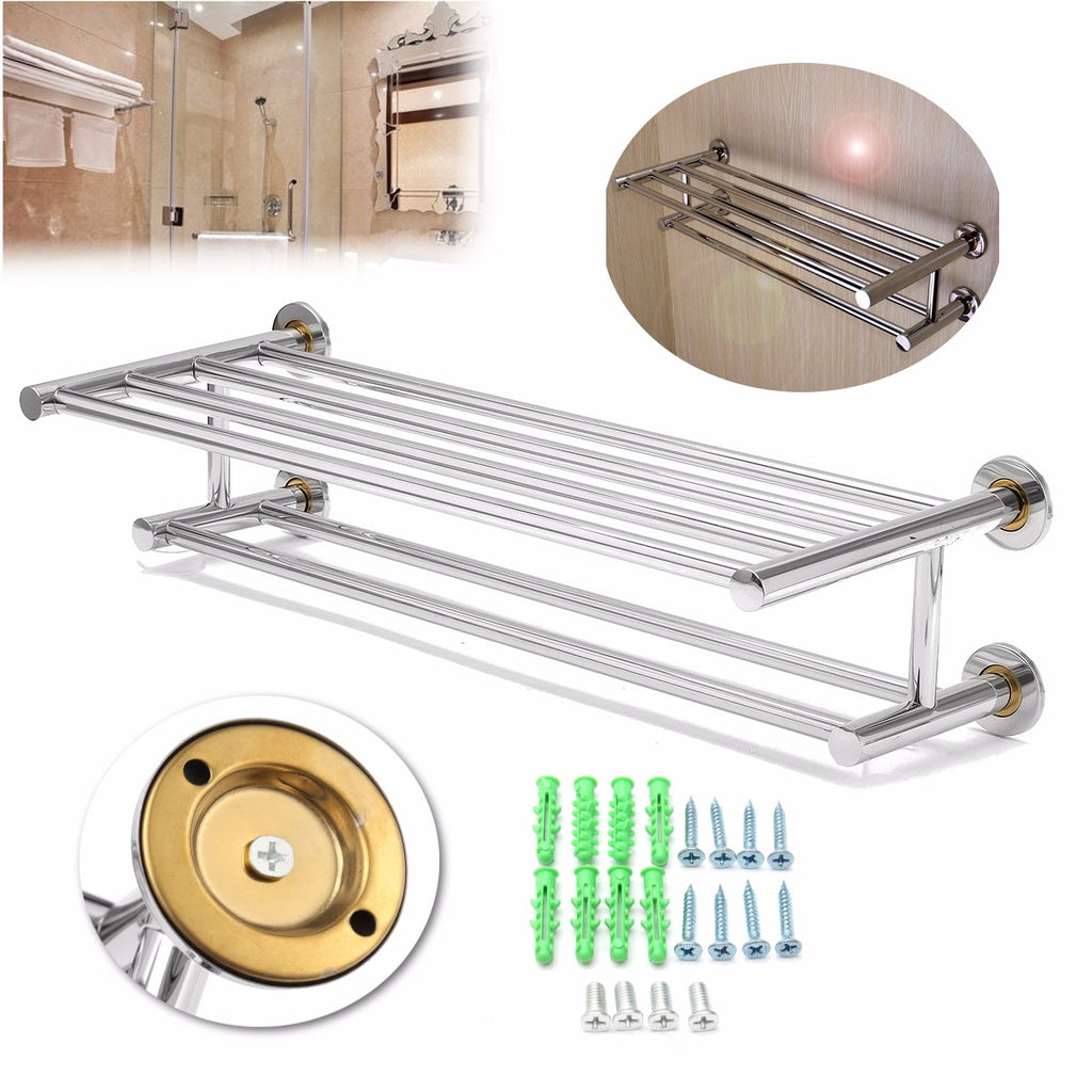 Stainless Steel Double Layer Towel Rail Wall Mounted Bathroom Storage Shelf