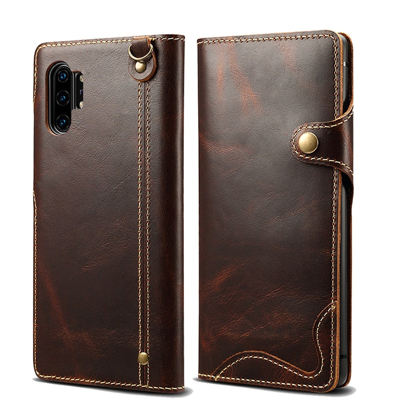 Genuine Leather Wallet Flip Case for Samsung Galaxy S20 Ultra S8 S9 S10+ Note 9