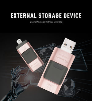 3 In 1 Lightning Micro OTG USB Flash Drive 8 GB/16GB/32GB/64GB For iPhone 5/5s/6/6/Plus/7/iPad - mobilecare17