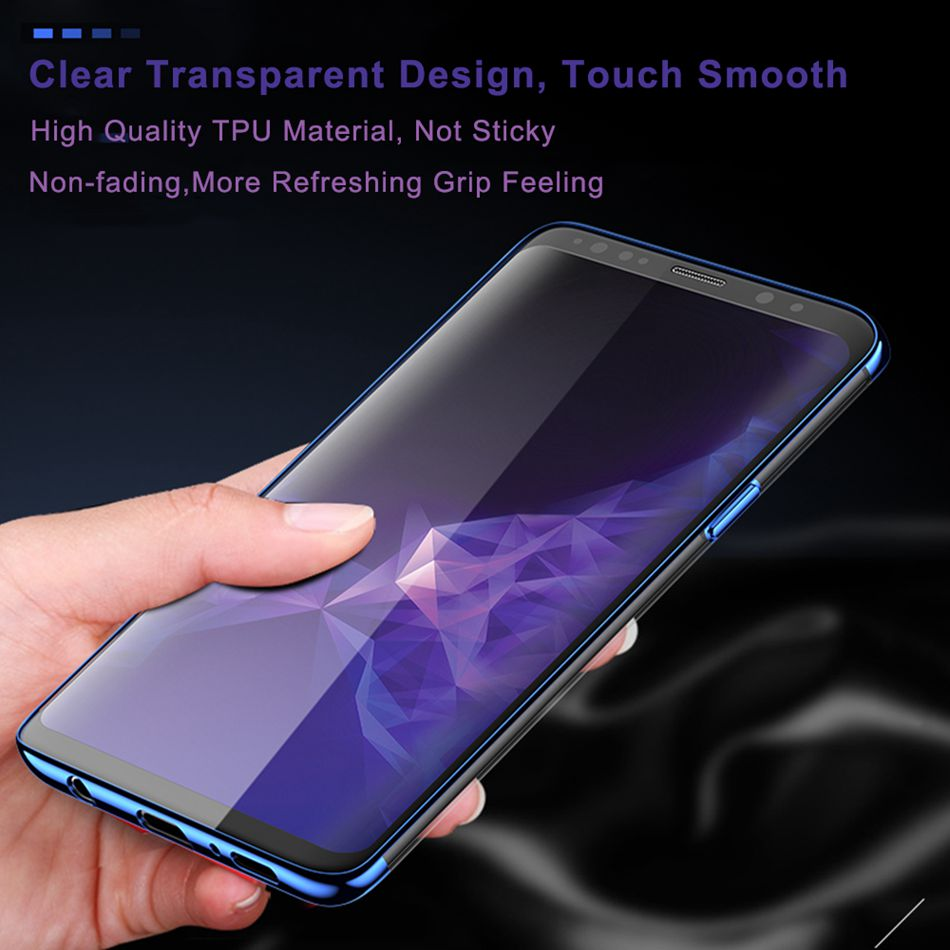 Plated Soft TPU Case For Samsung Galaxy S8 S9 Plus Luxury Clear Phone Cases Capa Coque - mobilecare17