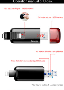 Baseus Micro USB 2.0 Flash Drive OTG Pen Drive 32GB/ 64GB For iPhone 7 6 iPad /Android/ IOS 9 10 11 & PC