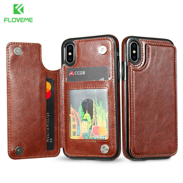 Card Slot Wallet Case For iPhone X 7 8 Plus Stand Holder Leather Phone Cases For iPhone 7 6 XS Max 5s 5 SE Cover Fundas - mobilecare17