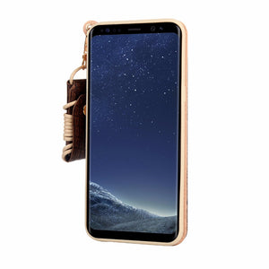 Luxury Genuine Leather case For Samsung Galaxy S8 / S8 Plus with card slot and lanyard