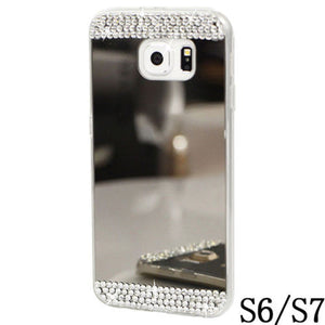 Slim Shiny Mirror Bling Diamante Rhinestone Crystal TPU Silicone for Samsung GalaxyS6 S6Edge S7 S8 S8PLUS Case Cover - mobilecare17