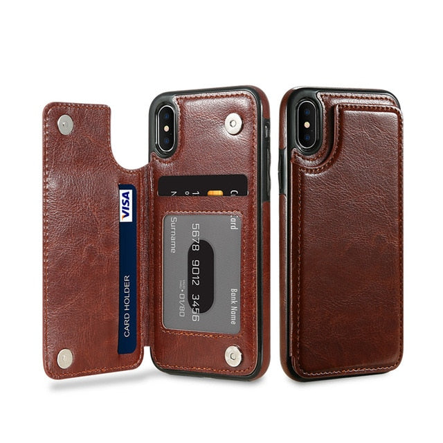 Phone Case For Samsung Galaxy S8 S9 Plus Note 9 8 Vintage Wallet Leather Flip Case For iPhone X XS Max Xr 6 7 8 Plus 5S - mobilecare17