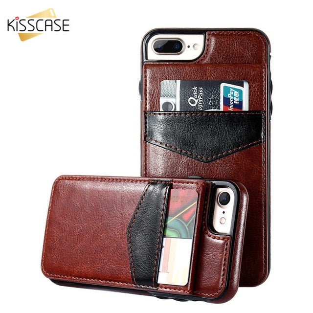 Leather flip Case For iPhone X 6 7 8 Plus XS Max Xr Card Holder Case For Samsung Galaxy S6 S7 S8 S9 Plus Note 9 8 Cover - mobilecare17