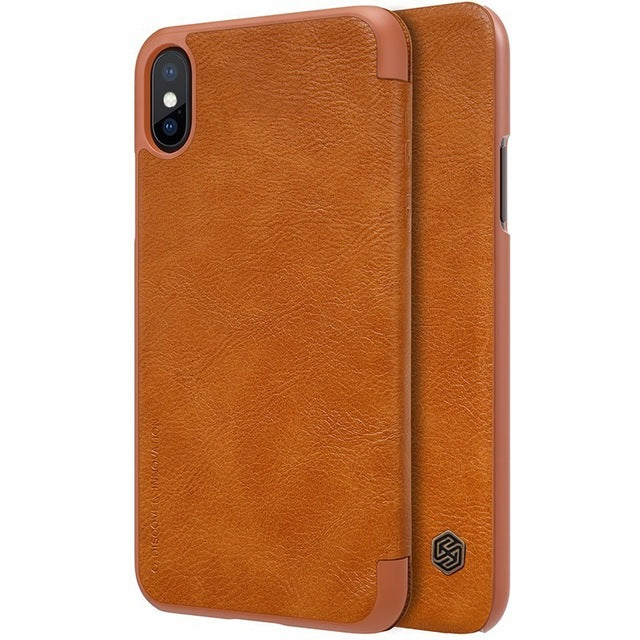 For iPhone Xs Case Cover PU Leather Flip Case for iPhone X Xs 5.8 inch - mobilecare17