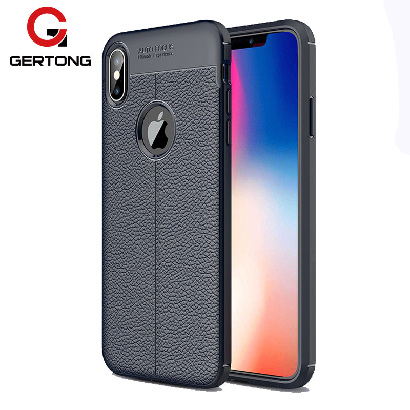 GerTong Phone Case Cover For iPhone XR X 7 8 6 6S Plus 5S SE 5 XS Max Leather Texture Case Plain Business Men Women Bags - mobilecare17