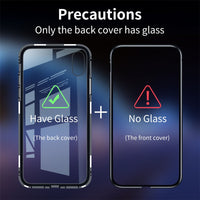 Magnetic Adsorption Tempered Back Glass Case Cover For iPhone 7 8 X XR XS Max Metal Absorption