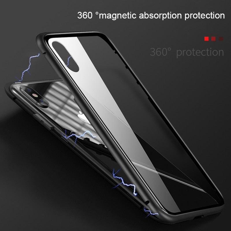Luxury Magnetic Case For iPhone XR XS Max X iPhone 6 S 6S 5 5S 5SE 7 8 Plus 6Plus 7Plus 8Plus Mobile Phone tempered glass Cover - mobilecare17