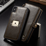 High Quality Detachable Wallet Case Back Cover For iPhone Xs/ Xs Max Luxury PU Leather Flip Case For iPhone XR XS Max Metal Logo - mobilecare17