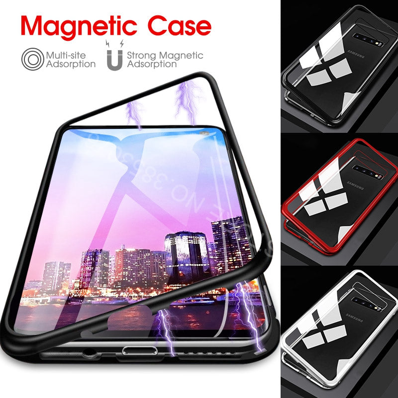 Luxury Magnetic Adsorption Tempered Glass Case Cover For Samsung Galaxy S10 S8 S9 S10 Plus Note 8 9 - mobilecare17