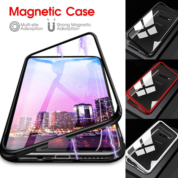 Luxury Magnetic Adsorption Tempered Glass Case Cover For Samsung Galaxy S10 S8 S9 S10 Plus Note 8 9