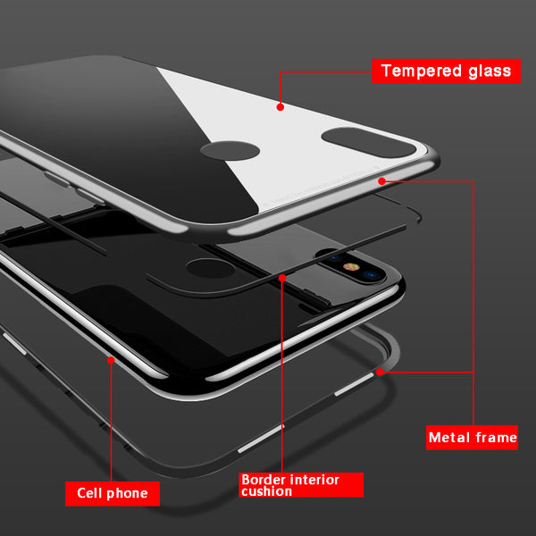 Magnetic Adsorption Tempered Glass Case Cover For Xiaomi Mi 8 8 Lite Mi A2 6X MiA2 Mi6x