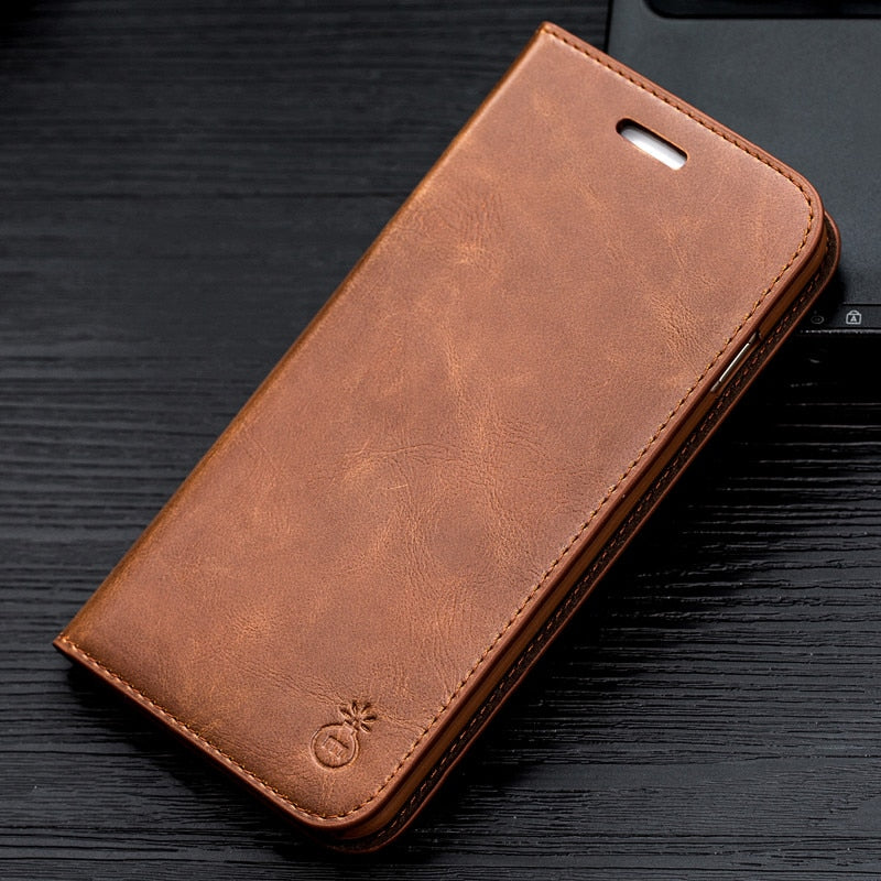 Luxury Stand PU Leather Case For Samsung Galaxy S9 Plus S7 Edge S8 Note 9 8 and iPhone X 8 Plus 7 6 6s 5s 5 - mobilecare17