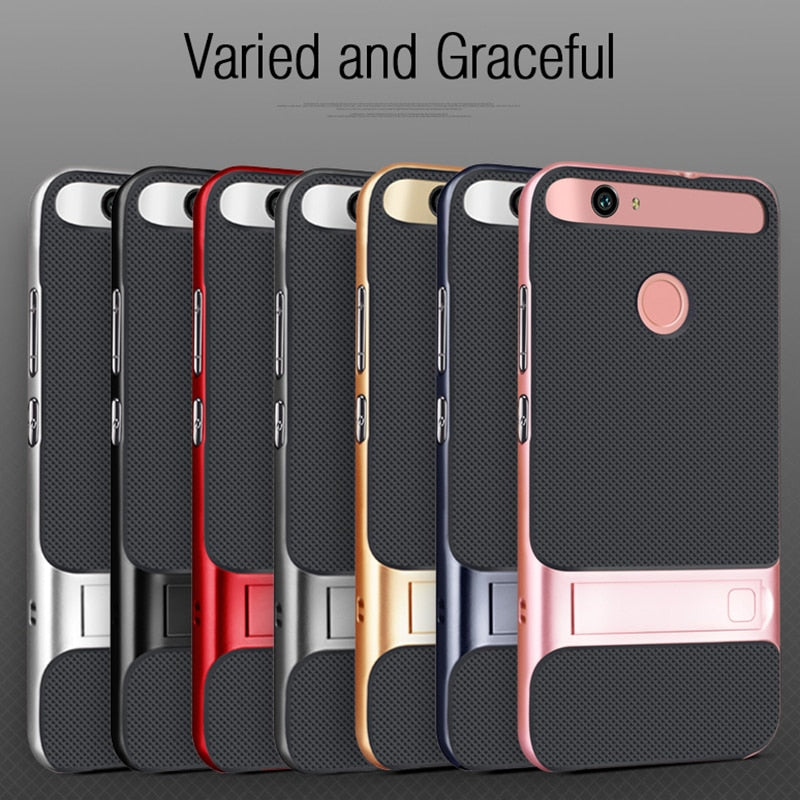 Luxury 3D Kickstand Funda for Huawei Nova Hybrid Case Silicone Cover 5.0 TPU+PC 360 Protective Mobile Phone Case Cover - mobilecare17