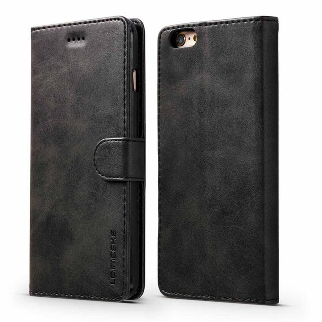 Luxury PU Leather Flip case with Credit Card Holder for iPhone XS Max XR XS X 8 7 6s 6 Plus - mobilecare17