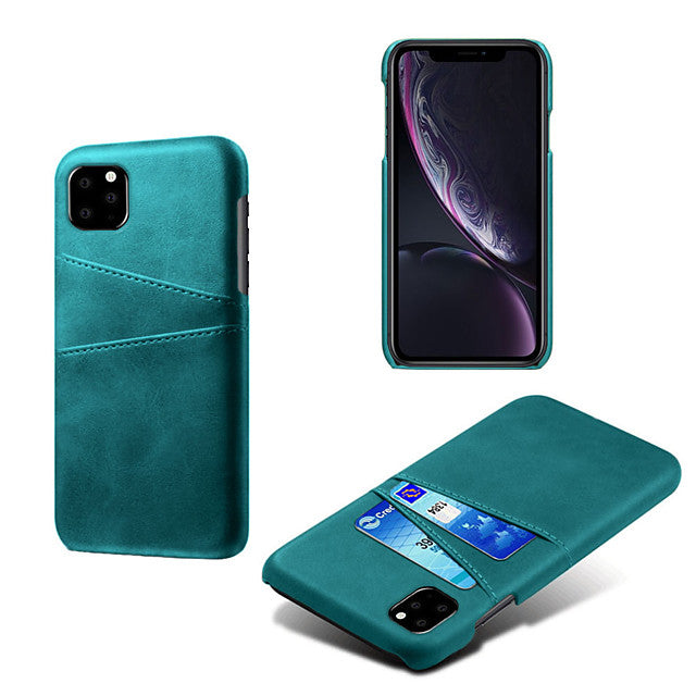 Phone Case For iPhone11 / iPhone11 Pro / iPhone11 Pro Max Card Holder Anti-Fall Back Cover Solid Colored PU Leather