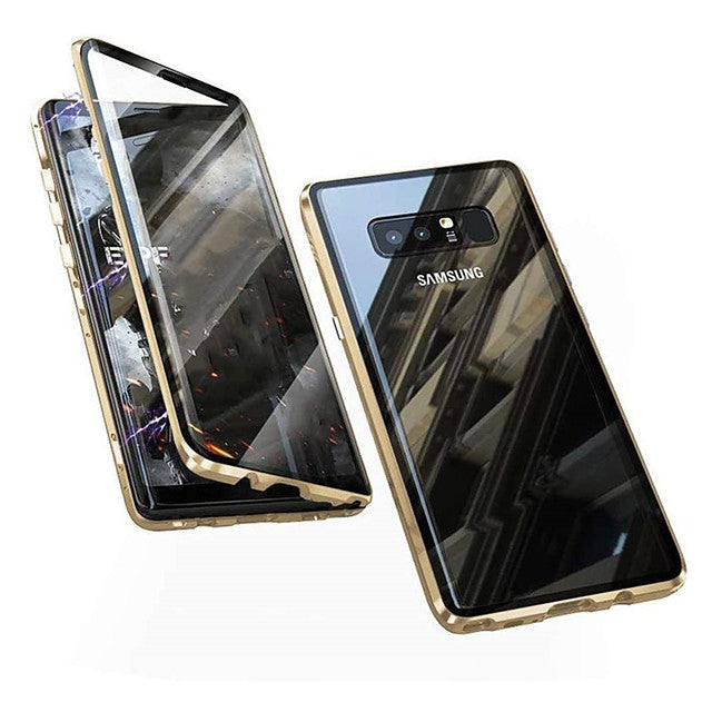Magnetic Metal Case 9H Tempered Glass Front and Back Cover Case For Samsung Galaxy S10 / S10plus 9H Tempered Glass Metal Frame Dsorption / Shock-Absorption / Anti-spy / Case For Samsung Galaxy S9