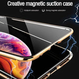 Magnetic Peep-proof Tempered Glass Privacy Metal Protective Case for iPhoneX / XS XR Max iPhone11 Pro Max