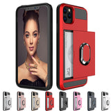 Armor Slide Card Ring Stand Holder Case For Apple iphone 11 Pro Max XR XS Max X SE-2020