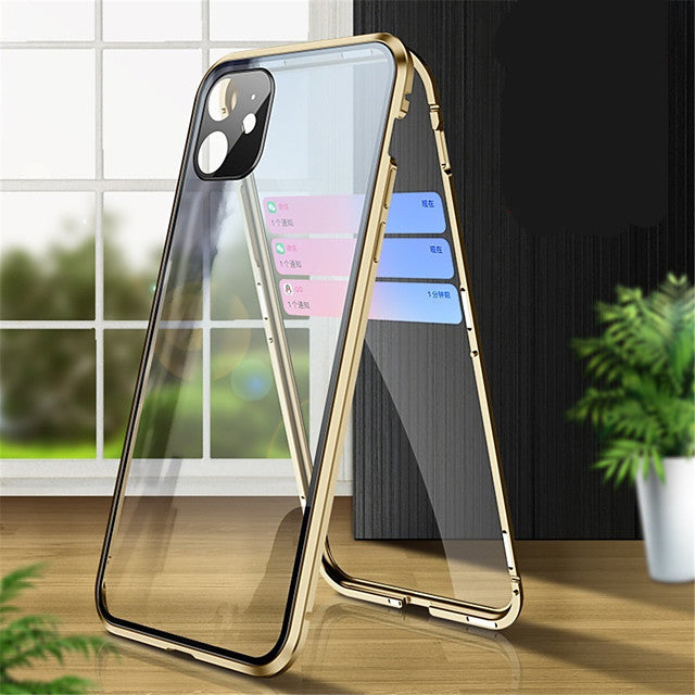 Magnetic Adsorption Tempered Glass Metal Case For Iphone SE 2020 / X / XS / XR / XS MAX / 8 / 8 Plus / 7 / 7Plus Coque 360 Protective Cases For Iphone 11 Pro Max / 11 / 11 Pro