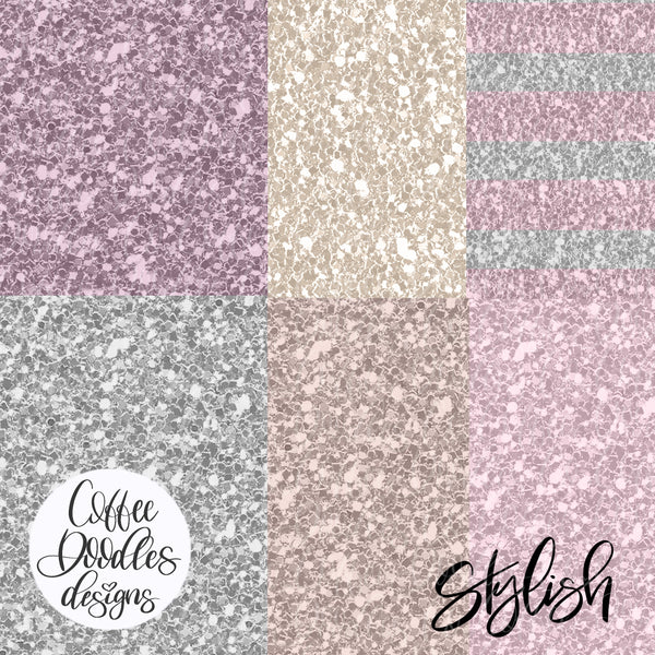 Work from Home Purple Collection Inspired Glitter Digital Paper Pack
