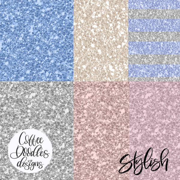 Work from Home Navy Collection Inspired Glitter Digital Paper Pack