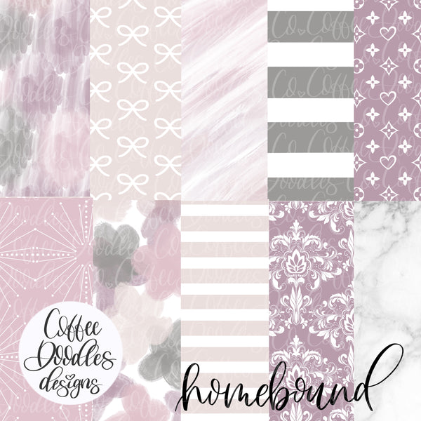 Work from Home Purple Collection Inspired NOT SEAMLESS Inspired Digital Paper Pack
