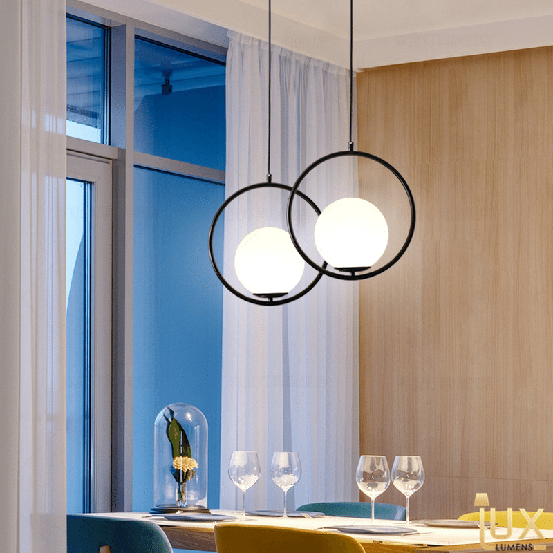 Minimalist Round Pendant Light from Lux-Lumens | Singapore's fully-online lighting retail. Pendant and LED Ceiling Lights/Fans for HDB BTO, Resale, EC, Condo, Landed, Restaurants, Cafes and Hotels
