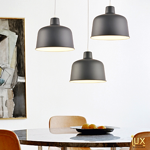 Lux-Lumens | Singapore's Fully-Online Lighting Retail - Pendant Lights, LED Ceiling Lights & Fans. Complement your Scandinavian & Nordic Themed Homes/Business with the Scandinavian Macron Bowl Pendant Light. Scene Display - Over the Dining Table. LED Bulbs Compatible. Free Island-wide Delivery - No Minimum Purchase for all BTO, Resale, EC, Condo, Restaurants, Cafes, Hotel & Retail Lighting.