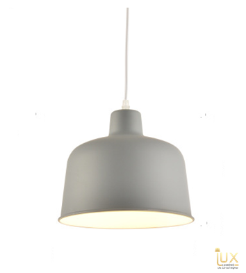 Lux-Lumens | Singapore's Fully-Online Lighting Retail - Pendant Lights, LED Ceiling Lights & Fans. Complement your Scandinavian & Nordic Themed Homes/Business with the Scandinavian Macron Bowl - Macron Grey Pendant Light. LED Bulbs Compatible. Free Island-wide Delivery - No Minimum Purchase for all BTO, Resale, EC, Condo, Restaurants, Cafes, Hotel & Retail Lighting.