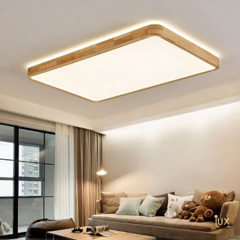 Scandinavian Wood LED Ceiling Light - Rectangle. Free Delivery for all BTO, Resale, EC, Condo, Landed, Restaurants, Hotels, Cafes & Retail Lighting.