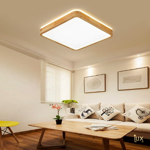 Scandinavian Wood LED Ceiling Light - Square. Free Delivery for all BTO, Resale, EC, Condo, Landed, Restaurants, Hotels, Cafes & Retail Lighting.