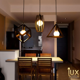 Lux-Lumens | Singapore's Fully-Online Lighting Retail - Pendant Lights, LED Ceiling Lights & Fans. Modern meets Luxury with the Minimalist Three-of-a-Kind Geometric Pendant Light. Instant utility savings of up to 40% by fitting the lamp with LED Bulbs. Free Island-wide Delivery - No Minimum Purchase for all BTO, Resale, EC, Condo, Resturants, Cafes, Hotel & Retail Lighting