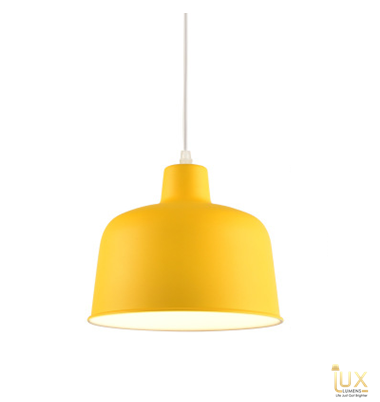 Lux-Lumens | Singapore's Fully-Online Lighting Retail - Pendant Lights, LED Ceiling Lights & Fans. Complement your Scandinavian & Nordic Themed Homes/Business with the Scandinavian Macron Bowl - Sunny Yellow Pendant Light. LED Bulbs Compatible. Free Island-wide Delivery - No Minimum Purchase for all BTO, Resale, EC, Condo, Restaurants, Cafes, Hotel & Retail Lighting.