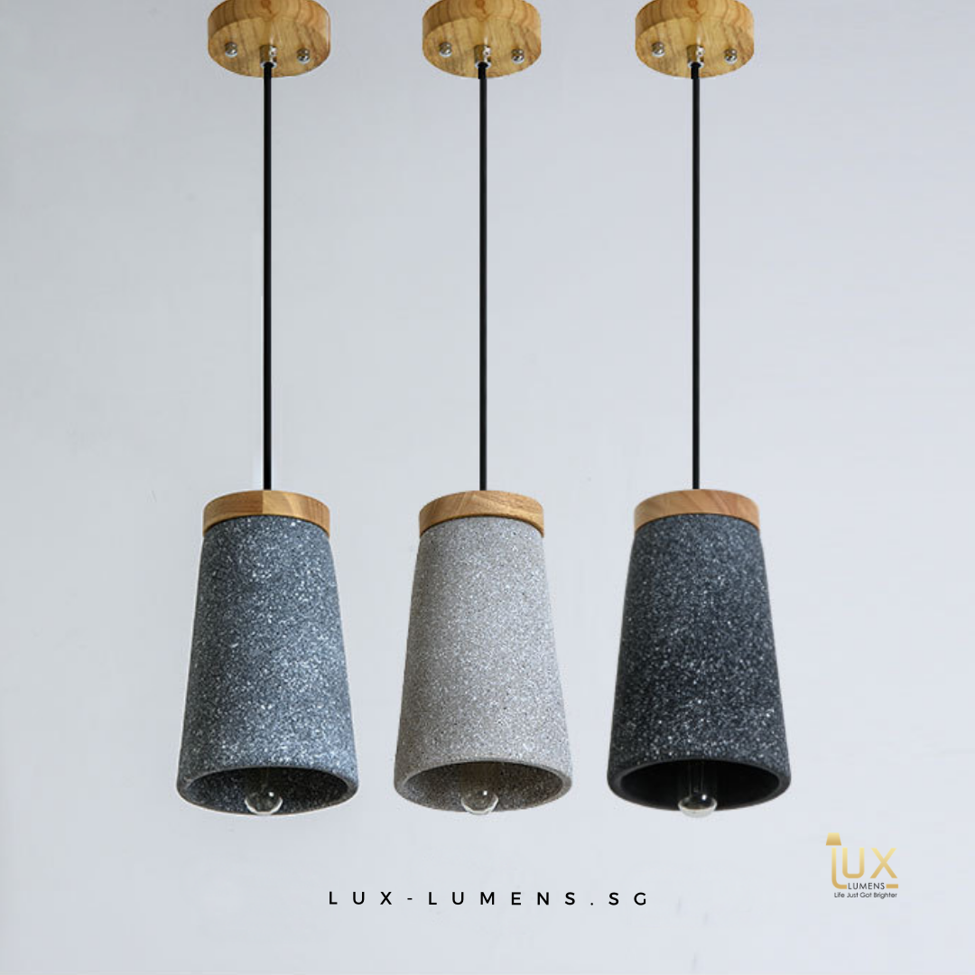 Singapore's Fully-Online Lighting Gallery - Pendant Lights, LED Ceiling Lights & Wall Lamps. Get your Atticus - Industrial Cement Pendant Light with Free Delivery - No Min. Purchase for all BTO Home Lighting, Resale Home Lighting, EC / Condo Home Lighting, Restaurants Lighting, Cafes & Retail Lighting.