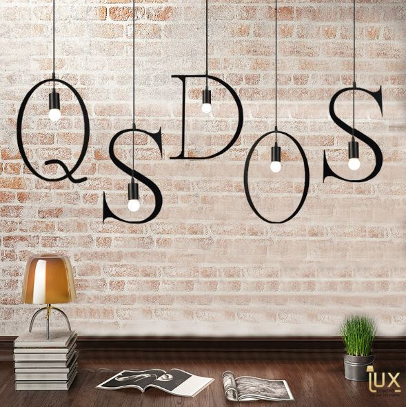 Alphabet Pendant Light from Lux-Lumens | Singapore's fully-online lighting retail. Pendant and LED Ceiling Lights/Fans for HDB BTO, Resale, EC, Condo, Landed, Restaurants, Cafes and Hotels