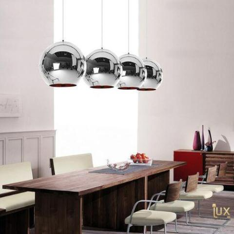 Lux-Lumens | Singapore's Fully-Online Lighting Retail - Pendant Lights, LED Ceiling Lights & Fans. Modern meets Luxury with the Chrome-Plated Round Pendant Light. Instant utility savings of up to 40% by fitting the lamp with LED Bulbs. Free Island-wide Delivery - No Minimum Purchase for all BTO, Resale, EC, Condo, Resturants, Cafes & Hotel.