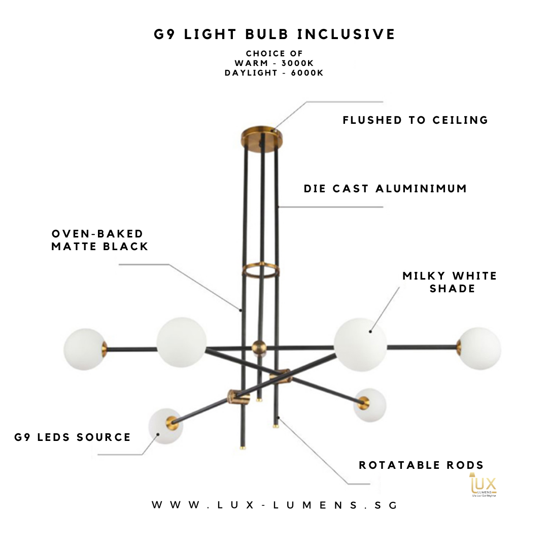 Singapore's Fully-Online Lighting Gallery. The Complessó - Ceiling Chandelier Lamp will exude a simple yet luxurious ambience. Free Local Delivery - No Min. Purchase for all BTO Home Lighting, Resale Lighting, EC, Condo Lighting, Landed Lighting, Restaurants, Cafes Lighting and Hotels Lighting