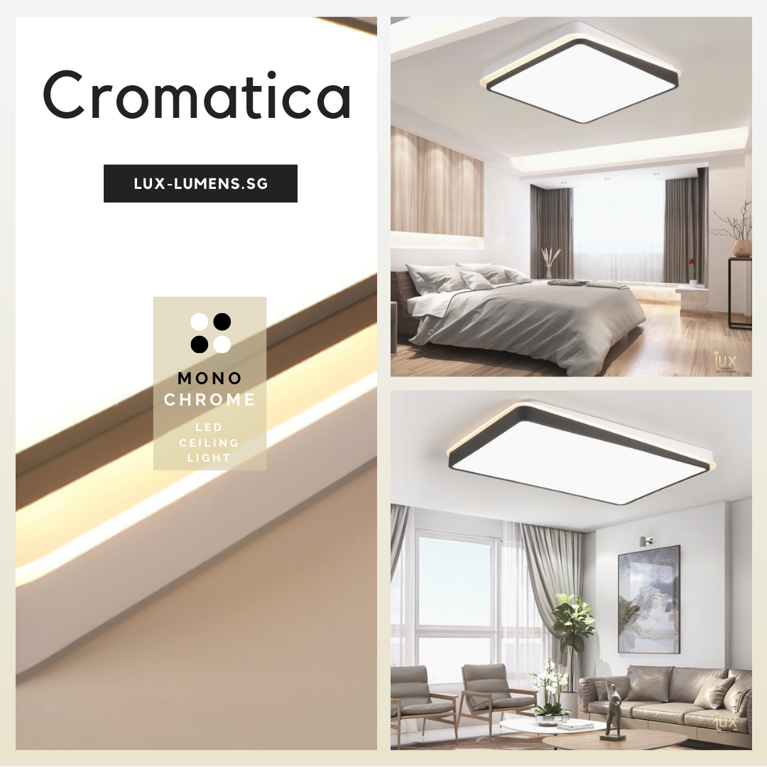 Monochromatic Black & White LEDs Ceiling Light. Free Delivery for all BTO Lighting, Resale Lighting, EC Lighting, Condo Lighting, Landed Lighting, Cafe Lighting, Restaurant Lighting & Retail Lighting
