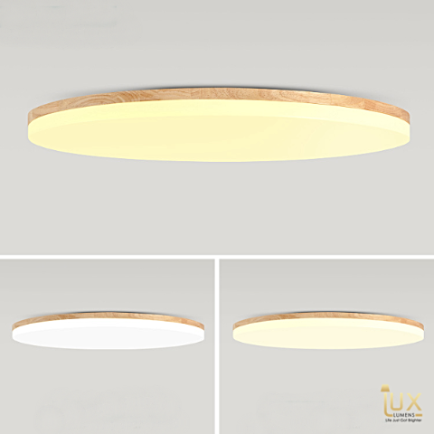 Lux-Lumens | Singapore's Fully-Online Lighting Retail - Pendant Lights, LED Ceiling Lights & Fans. Muji Wood LED Ceiling Light 36W, Daylight, Cool White, Warm Temperatures. Tri-Tone & Remote Adjustable Available. Instant utility savings of up to 40% by choosing LED Ceiling Lights. Free Island-wide Delivery - No Minimum Purchase for all BTO, Resale, EC, Condo, Restaurants, Cafes, Hotel & Retail Lighting.