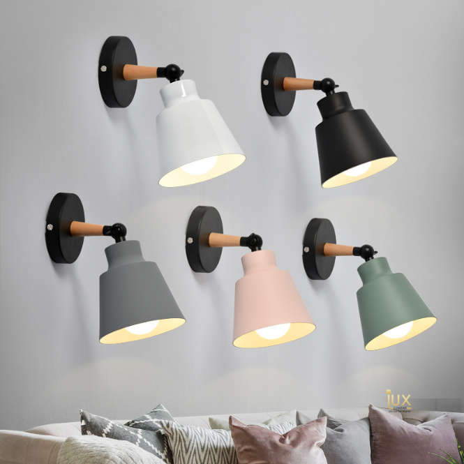 Scandinavian Wall Lamps in Macron Pastel Colours. Free Island-wide Delivery - No Minimum Purchase for all BTO, Resale, EC, Condo, Restaurants, Cafes, Hotel & Retail Lighting.