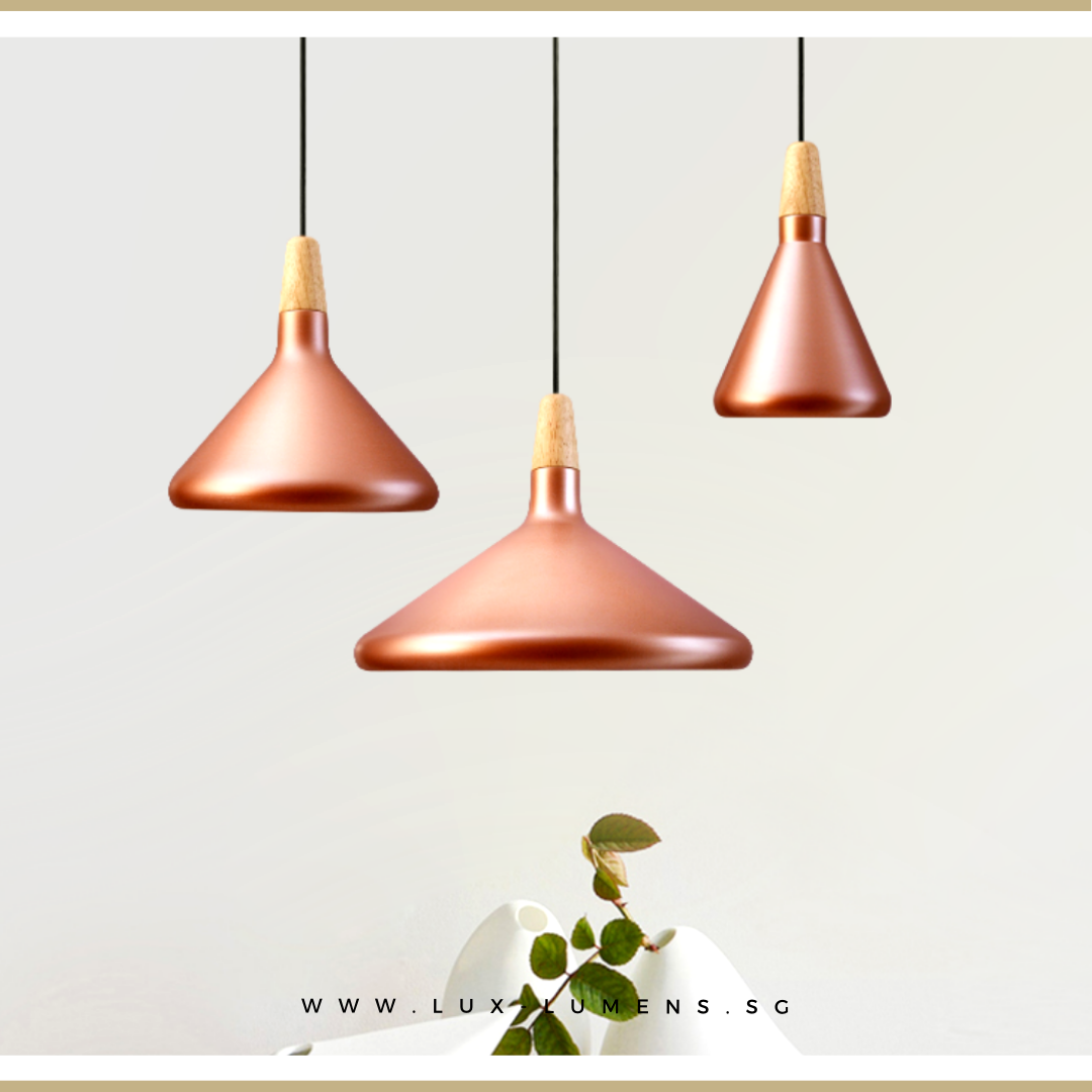 Singapore's Fully-Online Lighting Retail - Pendant Lights, LED Ceiling Lights & Wall Lamps. Complement your Scandinavian & Nordic Themed Homes/Business with the Scandinavian Rose Gold Pendant Light. LED Bulbs Compatible. Free Island-wide Delivery - No Minimum Purchase for all BTO, Resale, EC, Condo, Restaurants, Cafes, Hotel & Retail Lighting.