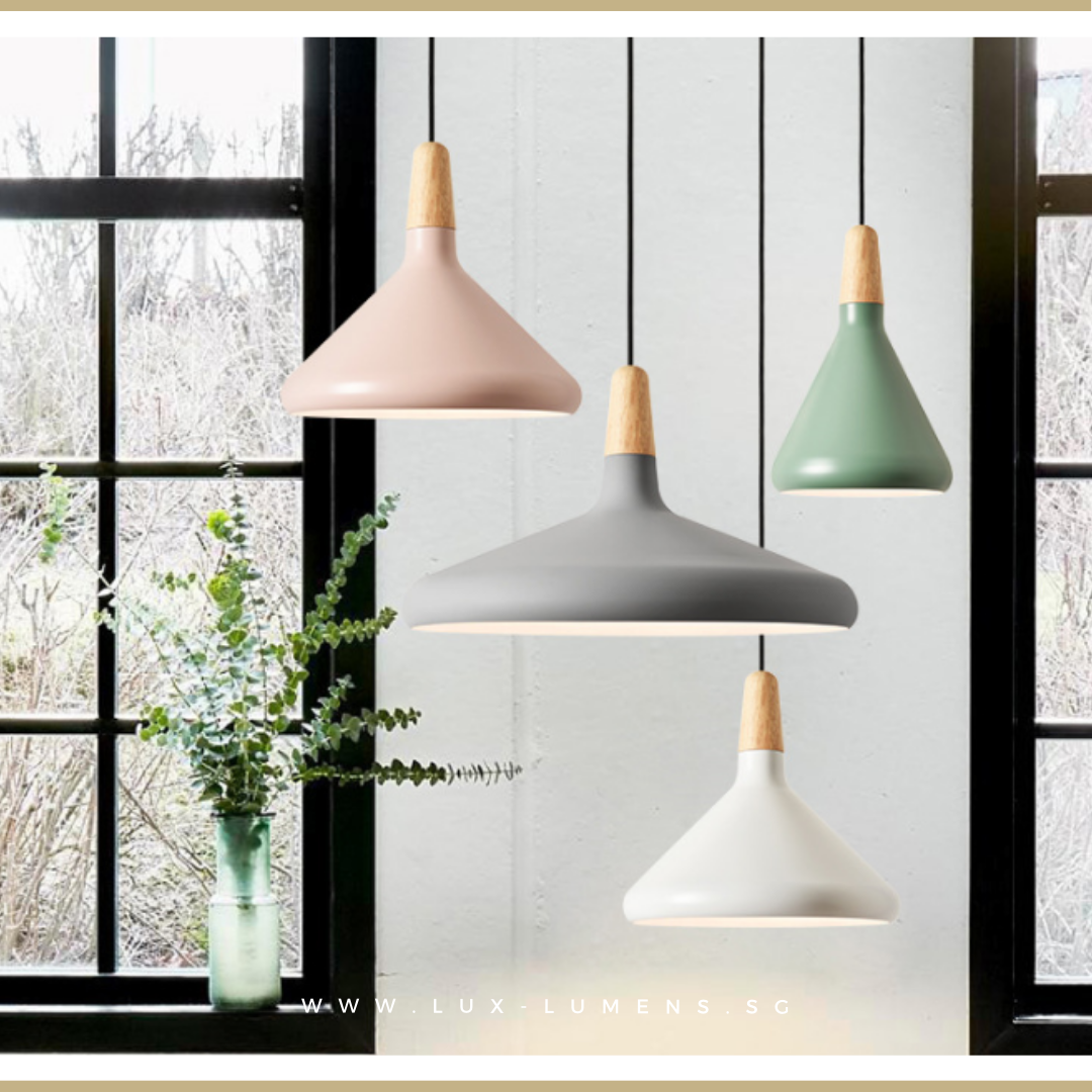 Singapore's Fully-Online Lighting Retail - Pendant Lights, LED Ceiling Lights & Wall Lamps. Complement your Scandinavian & Nordic Themed Homes/Business with the Scandinavian Pastel Colours Pendant Light. LED Bulbs Compatible. Free Island-wide Delivery - No Minimum Purchase for all BTO, Resale, EC, Condo, Restaurants, Cafes, Hotel & Retail Lighting.
