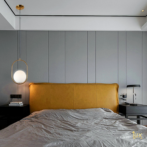 Perfect Bedside Lamp! Minimalist Globe Pendant Light, Gold Lamp Handles and Soft Glowing Hues of LED Light for all BTO Lighting, Resale Lighting, EC Lighting, Condo Lighting, Landed Lighting, Cafe Lighting & Retail Lighting.